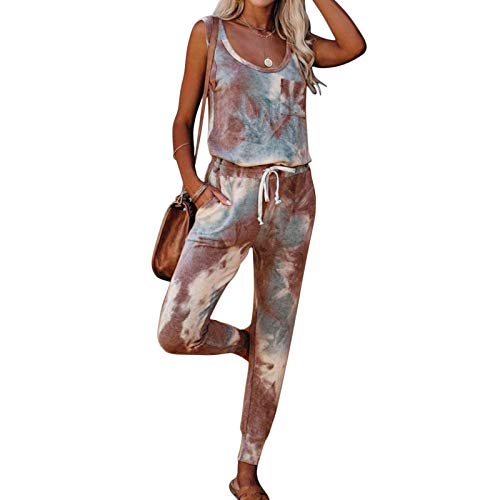 MoneRffi Womens Tracksuit Loungewear Set 2Pcs Tie Dye Printed Sports Jogging Suit Summer Sleeveless Sweatshirt Pullover Tops Drawstring Jogger Pants Casual Loose Pajamas SetsbrownL