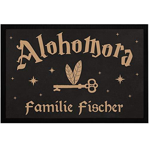 SpecialMe® Fußmatte mit Namen Alohomora Fliegender Schlüssel personalisierte Tümatte Familie rutschfest & waschbar weiß 60x40cm