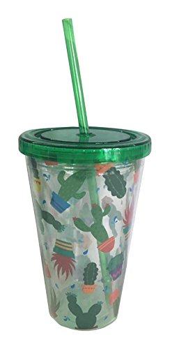 Puckator CUP12 Verre en Plastique avec Paille et Couvercle-Design Cactus, Vert, Rouge, Violet, Jaune, Transparent, 10 x 10 x 16 cm