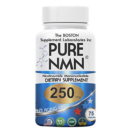 Boston Supplements | Pure NMN | 250mg Per Serving (Nicotinamide Mononucleotide), Third Party Tested, to Boost NAD+ Levels Similarly to Riboside Anti Aging (75 Capsules) Repair & Energy, Vitamin