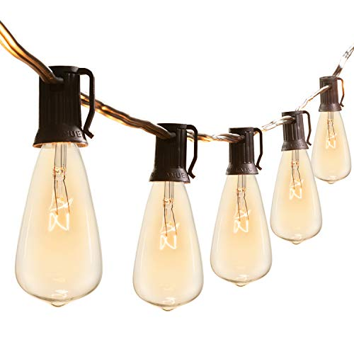 10Ft Outdoor Weatherproof String Lights with 10 Hanging Sockets & 7Watt ST40 Clear Bulbs, UL Listed E12 Base Vintage Edison Light String for Patio, Porches, Bistro, Backyard, Black Wire
