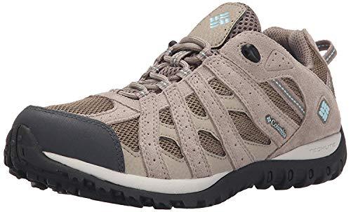 Columbia Women's Redmond Waterproof Hiking Boot, Pebble, Sky Blue, 9 Regular US