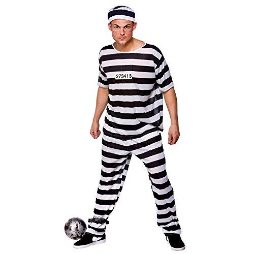 Ausbrecher Sträfling Gefangener Halloween Männer Verkleidung Karneval Kostüm L