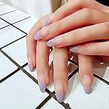 CSCH Uñas postizas 24 unids/set Secretos de arte de uñas de dedo medio y largo Hermoso color degradado púrpura Cubierta completa Uñas postizas Manicura femenina Uñas postizas acrílicas