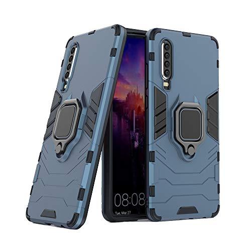 Funda Huawei P30,AKABEILA Compatible para Huawei P30 Carcasa Silicona PC Metálico Montaje Anillo Agarre Soporte Antichoque Caja Protector,Azul