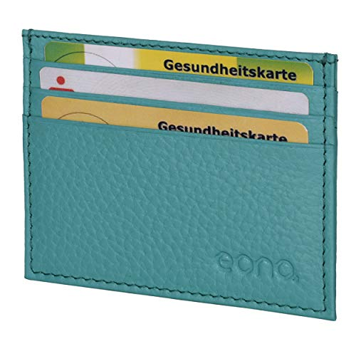 Amazon Brand - Eono Credit Card Holder with Bill Compartment Made of Leather for Women and Men - Flat Design with RFID Function (Türkisfarbenes Leder)