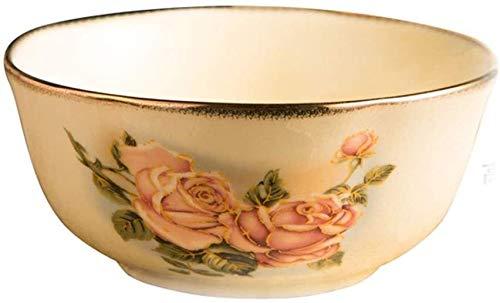 XUEXIU Vintage-Look Rice Bowl Phnom Penh Hochwertige Keramik-Schüssel Suppenschüssel Nudel-Schüssel Reis-Schüssel Geschenk Schüssel Koreanische Königin Gold-Rose für Familienhochzeitsgeschenke