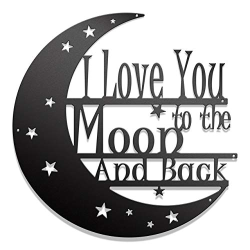 Steel Roots Decor I Love You to The Moon and Back Metal Wall Art Laser Cut 18 Inch Living Room, Bedroom, or Nursery Decoration, Indoor and Outdoor Use, Veteran Made
