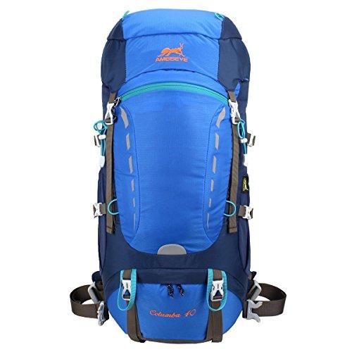 Eshow 40L Mochilas de Senderismo al Aire Libre de Nailon Impermeable MochilasMontaña Mochila de Viaje Para Hombre y Mujer Color Azul