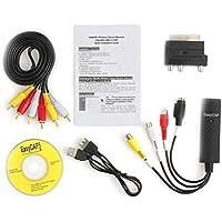 Funnyrunstore Práctico USB 2.0 VHS a convertidor de DVD Audio Video Kit de Captura Scart Cable RCA para Win10 Alto Rendimiento Negro