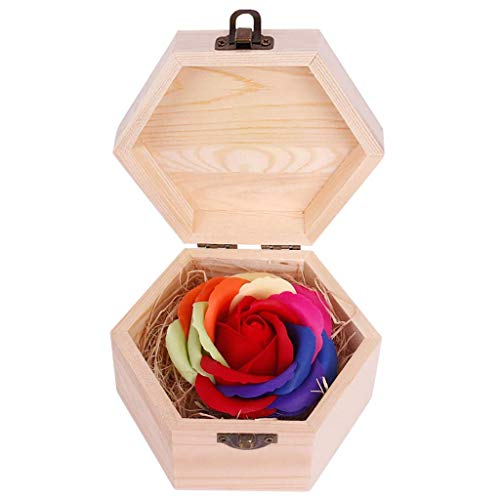FENGLI Soap Flower Rose Gift, Colourful Rose in Wooden Hexagon Shape Box, Idea Valentines Day Mothers Day, Anniversary, Birthday Decoration, Engagement,Wedding, Party (Color : Red)