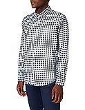 Marca Amazon - MERAKI Camisa Hombre, Multicolor (White/black), S, Label: S