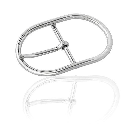 Gürtelschnalle Buckle 50mm Metall Silber Poliert - Buckle Noble - Dornschliesse Für Gürtel Mit 5cm Breite - Silberfarben Poliert