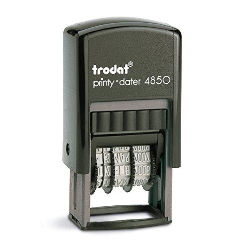 Trodat Printy 4850/L2 Datario con Testo Commerciale PAGATO, Autoinchiostrante - Blu, Rosso