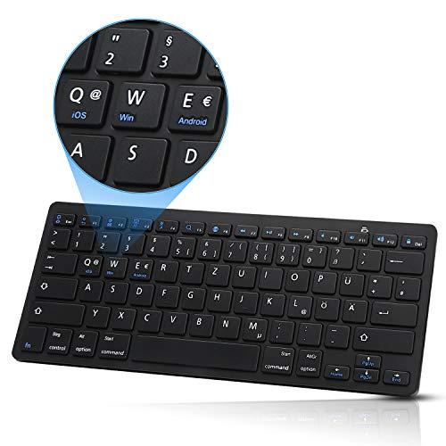 SENGBIRCH Bluetooth Tastatur, Deutsche Tastatur Kompatibel mit iPad Pro 2020, Samsung Galaxy Tab, Android, Mac, Ultradünn und Einfach zu Tragen für 3 Systeme (IOS, Android, Windows) - Schwarz