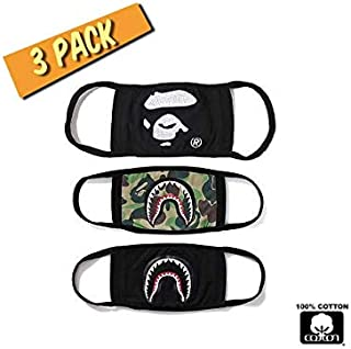 Bape Mask (3 Pack) Cotton Kids Face Mask, Dust Mask, Mouth Mask for Pollen Dust Pollution and Allergies. Ape Camo Shark Mouth Mask