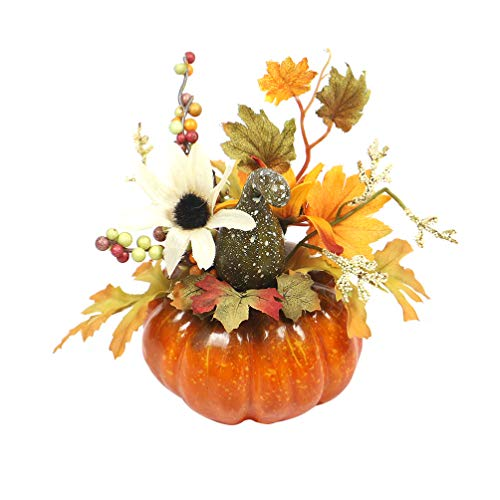 Amosfun 2 stücke Kürbis mit Ahornblätter Zierkürbisse Deko Kürbisse für Halloween Thanksgiving Herbstdeko (Sonne Blume grün Gebogene Melone)