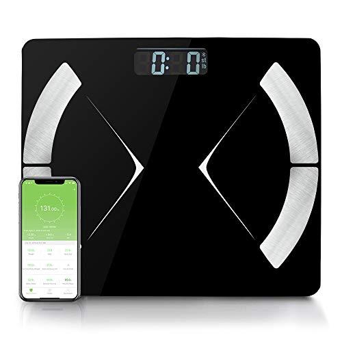 Zedelmaier Körperfettwaage, Bluetooth Personenwaage mit App, Smart Digitale Waage für Körperfett, BMI, Gewicht (Schwarz)