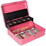 """Cash Box with Money Tray and Key Lock, Parrency Large Money Box, 5 Compartments with Cover for Cions & 4 Spring-Loaded Clips for Bills, 11 4/5"""" x 9 2/5"""" x 3 1/2"""", Pink"""