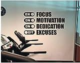 Concéntrese en la motivación, la dedicación, la búsqueda de excusas, gimnasio, gimnasio, fitness, vinilo, calcomanías de pared, dormitorio, decoración del hogar, aula, 100X56 cm de descuento, pegati