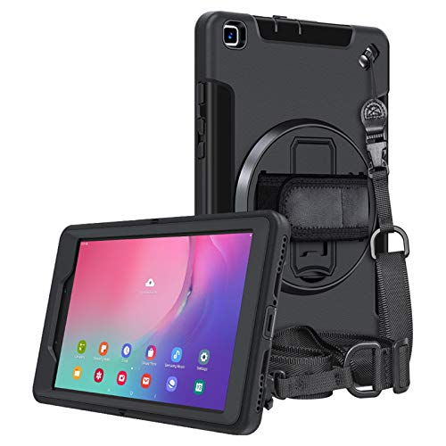 A-BEAUTY Case for Galaxy Tab A 8.0 2019 (SM-T290/ T295), with [Hand Strap] [Shoulder Strap] [Stand] [Dust Plug] Heavy Duty Shockproof Kids case, Black