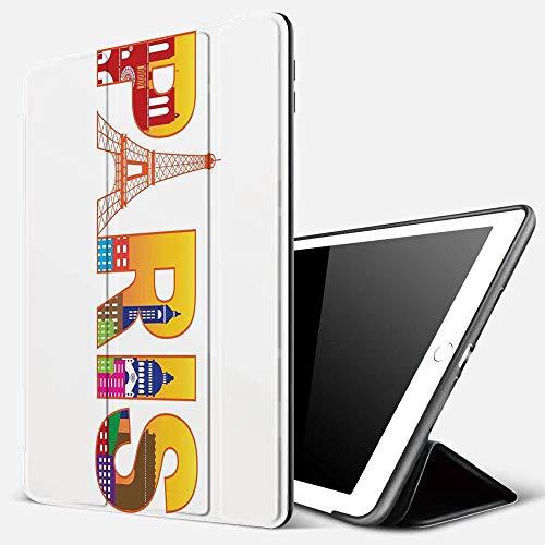 iPad 10.2 Pouces 7ème Génération 2019 A2197/A2198/A2200, Paris, Paris France Skyline avec icônes culturelles Cité historique Caractéristiqu,Smart Cover Case Housse Étui de Protection avec Support
