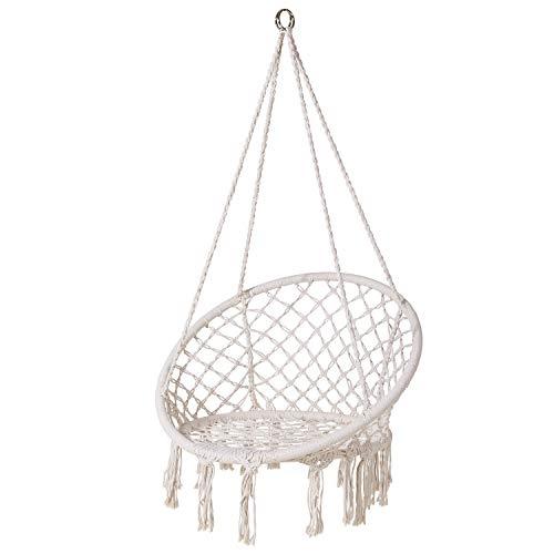 enkeeo ハンモック 吊るしタイプ ロープハンモックチェア 吊り下げる椅子 耐荷重120kg 大人&子供兼用 屋外&室内兼用 インテリア ベージュ HC-1-JP 【メーカー保証】