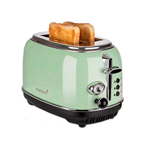 Korona 21665 Toaster | 2 Scheiben | Mint | Röstgrad-Anzeige | auftauen | rösten | aufwärmen | 810 Watt | Brötchen-Aufsatz | Krümel-Schublade | Brotscheiben-Zentrierung