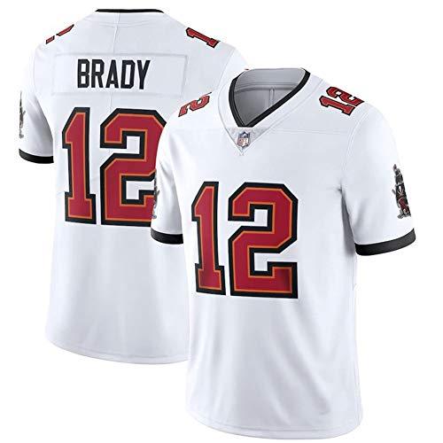 DXG NFL New England Patriots #12 Tom Brady Camiseta sin Mangas de Malla Bordada sin Mangas de Uniforme de Rugby para Fiestas, Duradera y Transpirable,Blanco,L