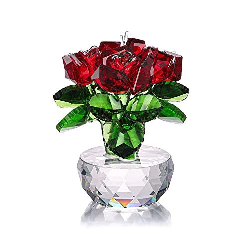 Jovivi Figura decorativa de cristal con rosa de cristal,  con caja de regalo