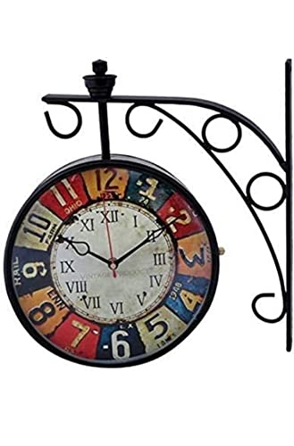 Vintage Product Victoria Iron Dia Retro Double Sided Station Railway Wall Clock (Black, 8 Inch)