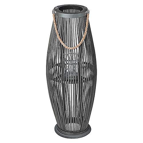 Laterne aus Bambus mit Henkel und Glaszylinder H 40 bis 74 cm - Bambuslaterne Windlicht aus Bambus Gartenlaterne (H 95 cm-anthrazit)