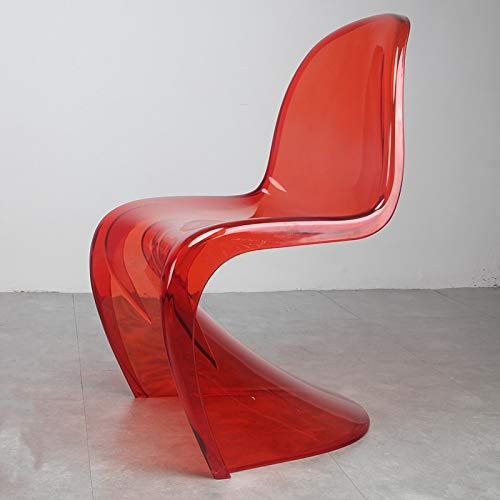 European Creative S-Form-Flash-Möbel Ghost-Side Chair in Transparent Kristall (Color : Clear RED)
