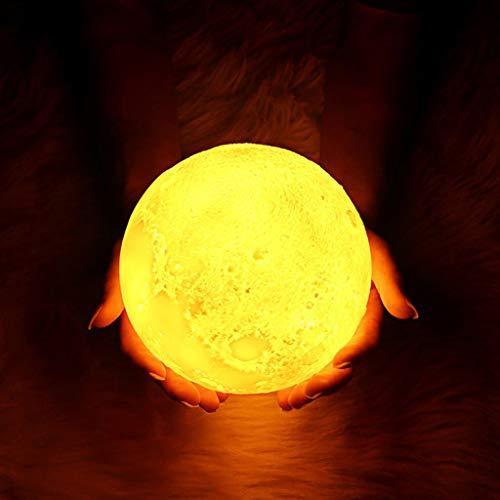 Veilleuses Lampe Moon, technologie d'impression 3D Moon Light rechargeable par USB, décor spécialisé pour l'intérieur, commande tactile Moon Lights pour cadeau/Thanksgiving/Noël/Anniversaire (3