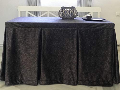 Falda o Ropa de Camilla Rectangular Invierno 120X70X72 y a Medida, Modelo IBI, Textura Suave Satinado Efecto mármol (Antracita)