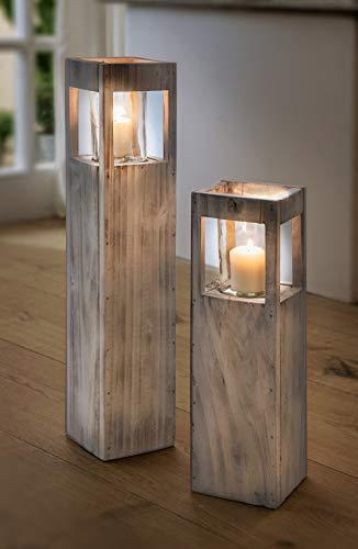 """Windlicht-Säule """"Shabby-Charme"""" klein aus Holz & Glas, 50 cm hoch, Kerzenhalter, Kerzenständer, Dekosäule"""