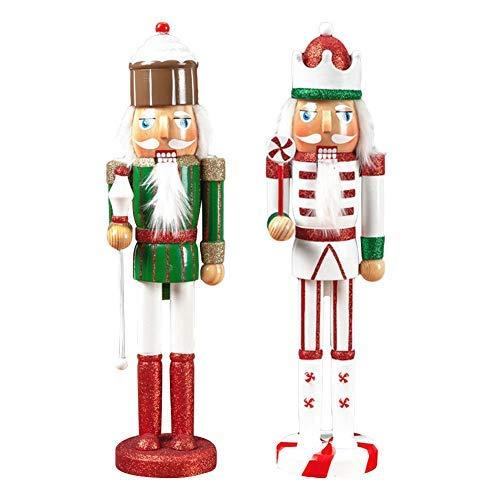 Maliyaw 2-delig/set notenkraker, kerst notenkraker soldaat pop sieraden, hout notenkraker pop 38 cm kleur roze groen serie