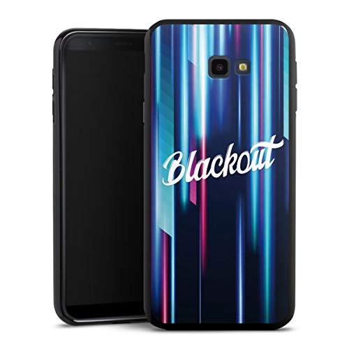 DeinDesign Silikon Hülle kompatibel mit Samsung Galaxy J4 Plus (2018) Case schwarz Handyhülle Logo Lichteffekte Youtuber