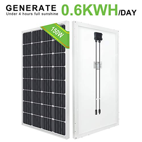 ECO-WORTHY Mono-Solarpanel 150 W hohe Effizienz für 12 V Akku-Ladenetztei Photovoltaik Solarzelle Ideal zum Aufladen von 12V Batterien Wohnmobil Garten Camper Boot