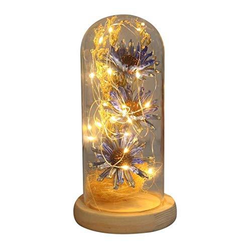 Gedroogde zonnebloem LED-lichtsnoer in glazen koepel op houten voet Romantisch cadeau voor vrouwen Valentijnsdag huwelijksfeest decor, blauw, Verenigde Staten