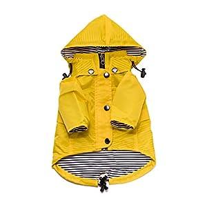 Ellie Dog Wear Yellow Zip Up Dog Raincoat with Reflective Buttons, Pockets, Rain/Water Resistant, Adjustable Drawstring, & Removable Hood – Size XXS to XXL – Stylish Premium Dog Raincoats