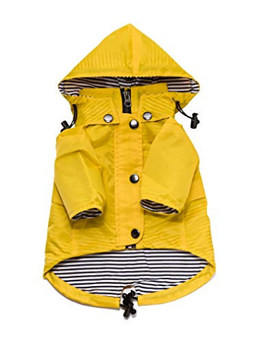Yellow Zip Up Dog Raincoat with Reflective Buttons, Pockets, Rain/Water Resistant, Adjustable...