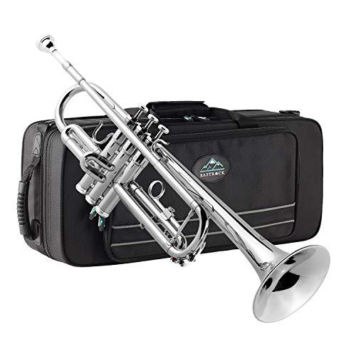 EastRock Trompeten Bb mit Tasche Gold und Schwarz Anfänger Übe für Student(Nickel)