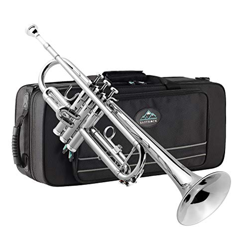 EastRock Trompeten Bb mit Tasche und Zubehör Nickel Anfänger Übe für Student Lernen (Nickel)