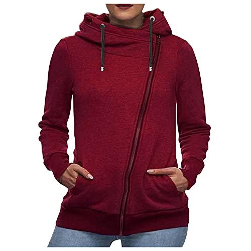 BIBOKAOKE Sudadera con capucha para mujer, con cremallera, de manga larga, para deportes al aire libre