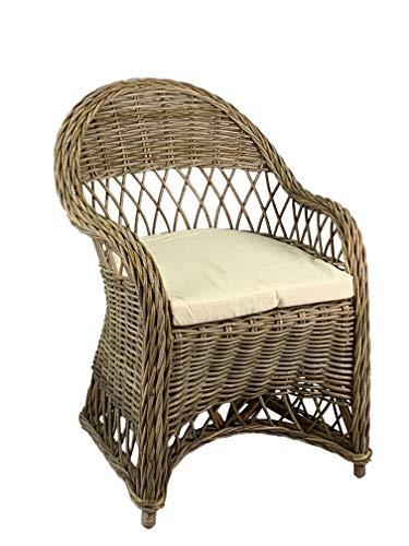 animal-design Rattansessel Dream Rattan-Stuhl Korb Sessel bequem mit Armlehne Esszimmer Wohnzimmer Lesezimmer, Größe:1 Stück