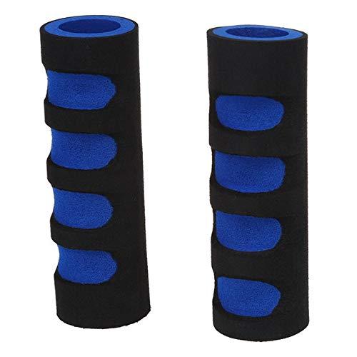 U/D Apretones de Manillar de la Bicicleta de 2 Piezas Anti Slip Esponja Manillar Grip-Negro/Azul