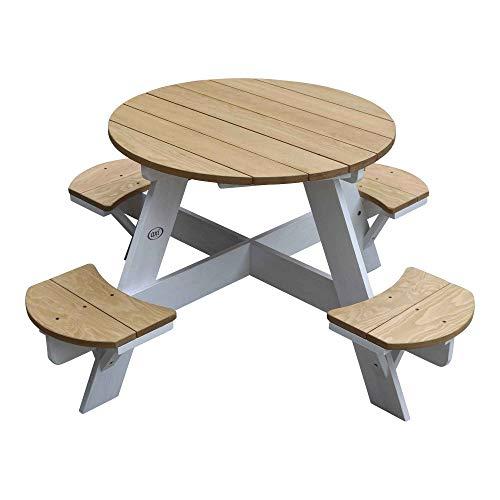 AXI Kinder-Picknicktisch-Sitzgruppe Tisch-Stühle-Garnitur UFO Rund 4 Kinder Natur FSC Holz 120x120x56cm