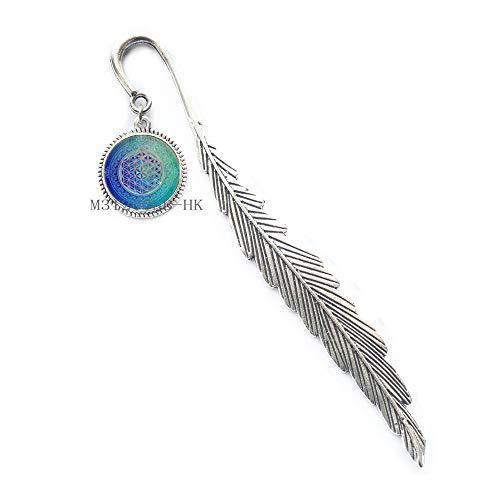 Segnalibro a forma di fiore della vita, in vetro cabochon tibetano, con catena in argento, segnalibro a forma di fiore, geometria sacra MT169