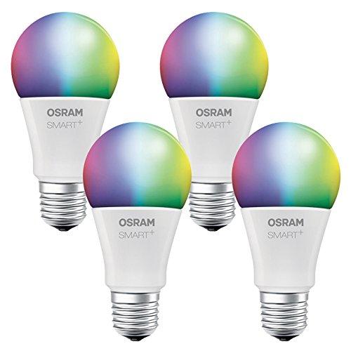 OSRAM SMART+ LED, Bluetooth Lampe mit E27 Sockel, RGB Farbwechsel, dimmbar, ersetzt 60W Glühbirne, warmweiß, 4er Pack, Kompatibel mit Apple Homekit und LEDVANCE Smart+ App für Android